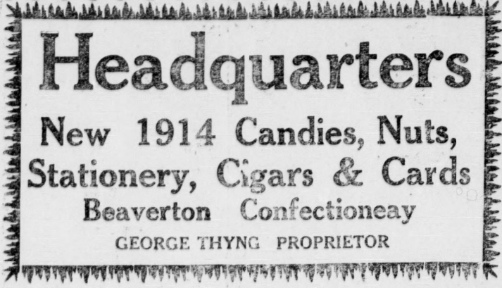Beaverton Confectionary Ad (1914)