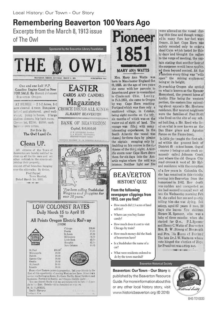Excerpts The Owl Mar 8 1913