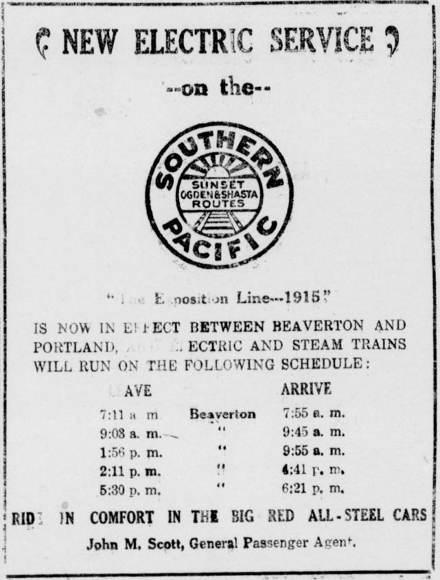 Southern Pacific Railroad ad (The Owl Jan 1914)
